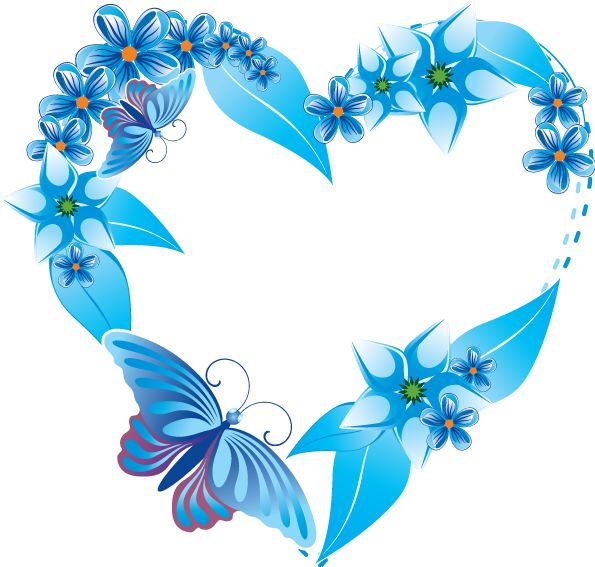 Heart-shaped clipart blue Flowers on on more heart