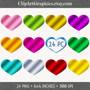 Heart-shaped clipart blue Digital Heart Metallic Set Gold