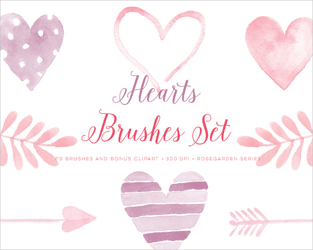 Heart-shaped clipart brushed #9