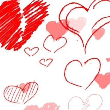 Heart-shaped clipart brushed Photoshop download brushes (2 photoshop