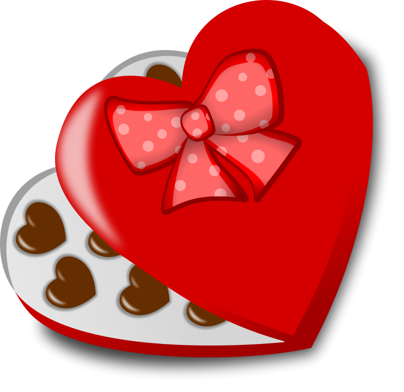 Heart-shaped clipart chocolate box #1