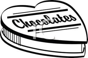 Heart-shaped clipart chocolate box Box Black and White Clip