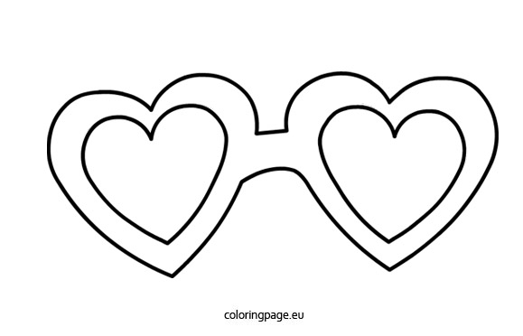 Heart-shaped clipart coloring Coloring « glasses Page ·