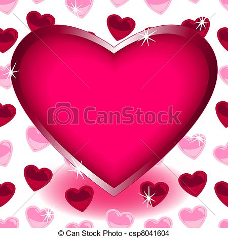 Heart-shaped clipart drawn Vector EPS Big heart seamless