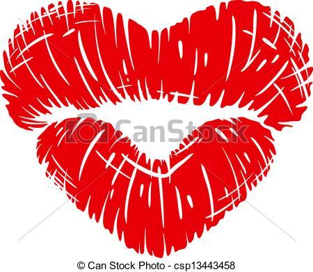 Lipstick clipart heart Heart lips white in Red