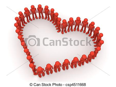 Heart-shaped clipart fancy Formed by by Crowds characters