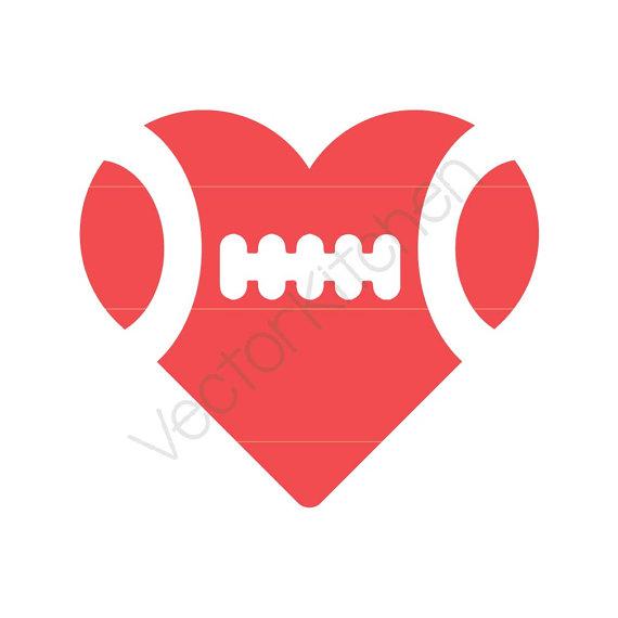 Heart-shaped clipart football Heart Football Silhouette Template SVG