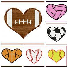 Heart-shaped clipart football Cut Heart file Set Sports