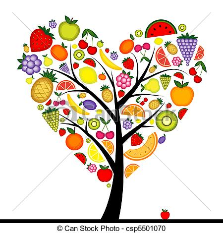 Heart-shaped clipart fruit Tree design fruit Clipart your