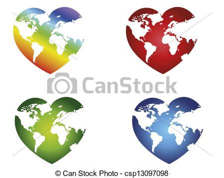 Heart-shaped clipart globe #5