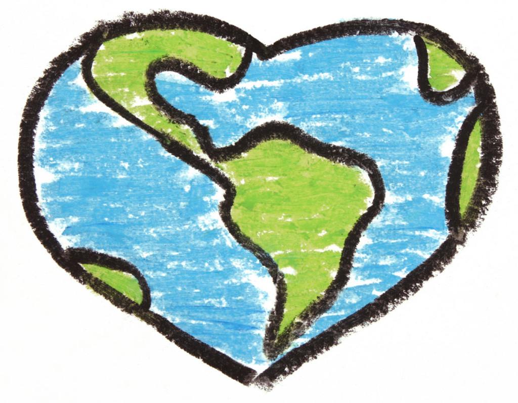 Heart-shaped clipart globe #2