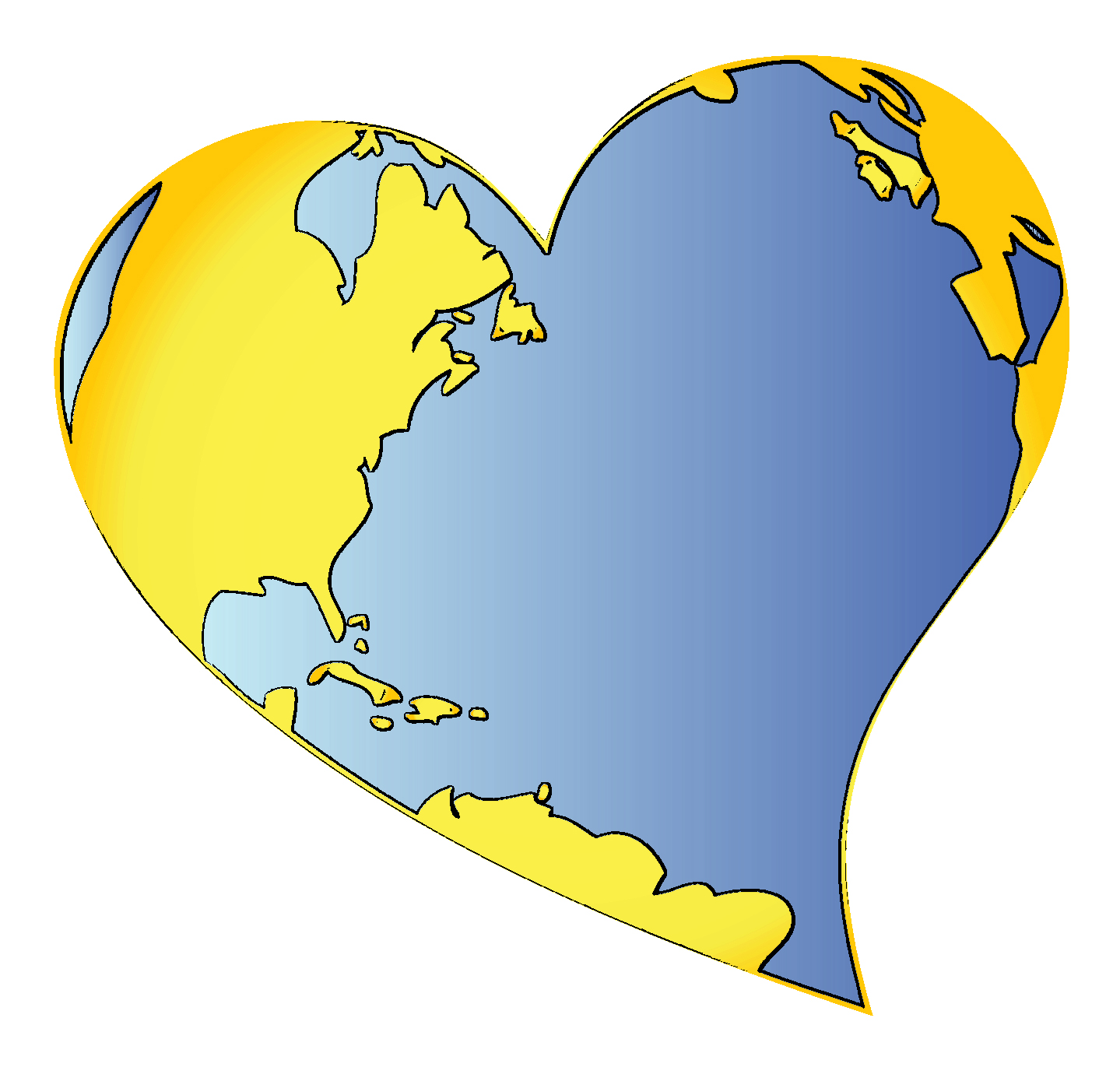 Heart-shaped clipart globe #3