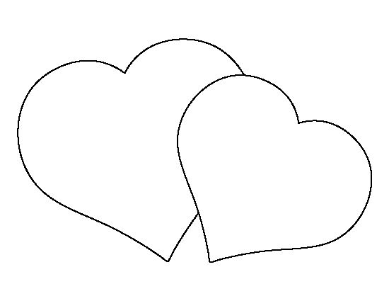 Heart-shaped clipart half heart Template outline for stencils crafts