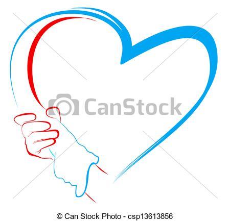 Heart-shaped clipart hand Stock holding shape Illustrations holding