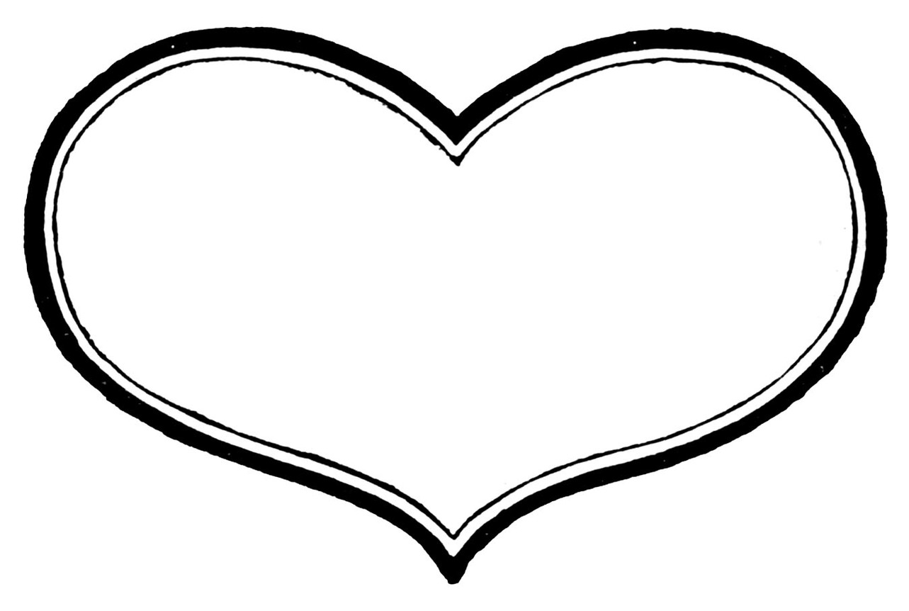 Heart-shaped clipart heart outline – black and Heart heart