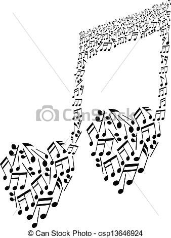 Heart-shaped clipart music notes Vector heart notes shape musical