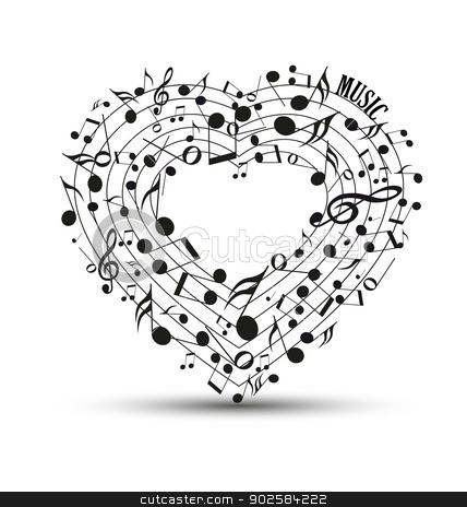 Heart-shaped clipart music notes Of in of stock vector