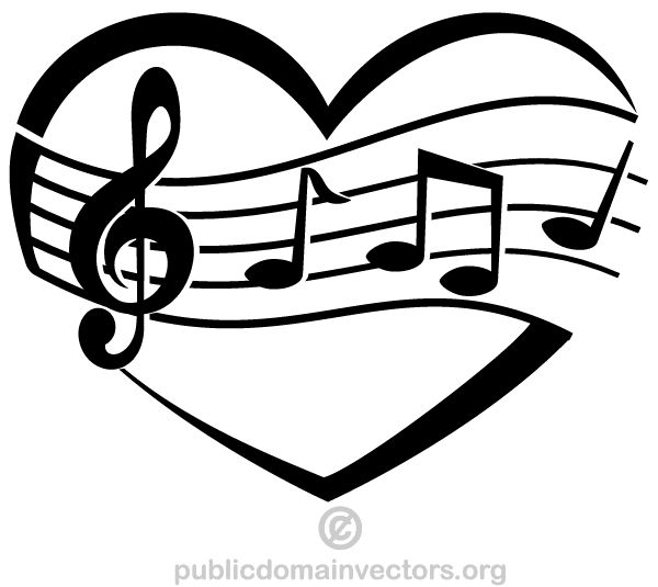 Heart-shaped clipart music notes Vector best Musical Vector Graphic