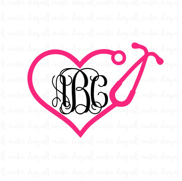 Heart-shaped clipart nurse SVG Heart Stethoscope SVG monogram
