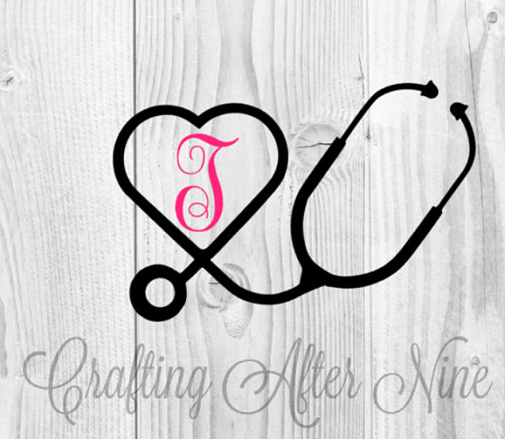 Heart-shaped clipart nurse Frame SVG RN Vinyl Cameo
