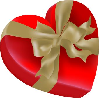 Heart-shaped clipart object Heart gold red Gallery box