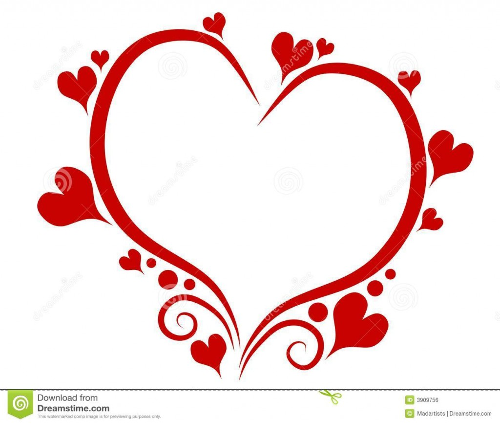 Heart-shaped clipart outlined #6