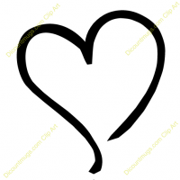 Heart-shaped clipart outlined #7