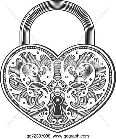 Heart-shaped clipart padlock Vector Clip Stock padlock Heart