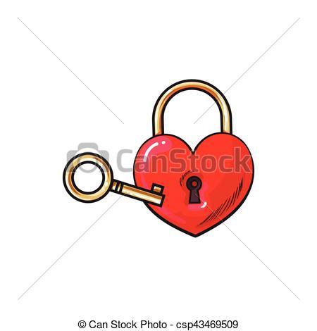 Heart-shaped clipart padlock Key and ceremony unity of