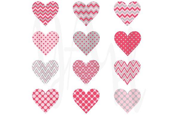 Heart-shaped clipart pink Dot Chevron Heart Creative on