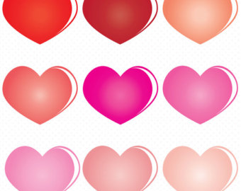 Heart-shaped clipart pink  Valentines Heart Colorful Red