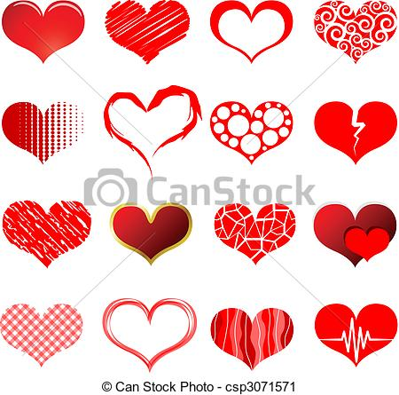 Heart-shaped clipart red heart Red red Vector shapes collection
