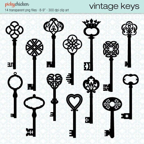 Heart-shaped clipart skeleton key Download Vintage Keys French Keys