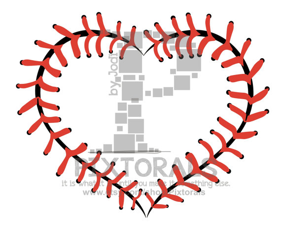 Heart-shaped clipart softball Laces JPG Printing EPS Laces!