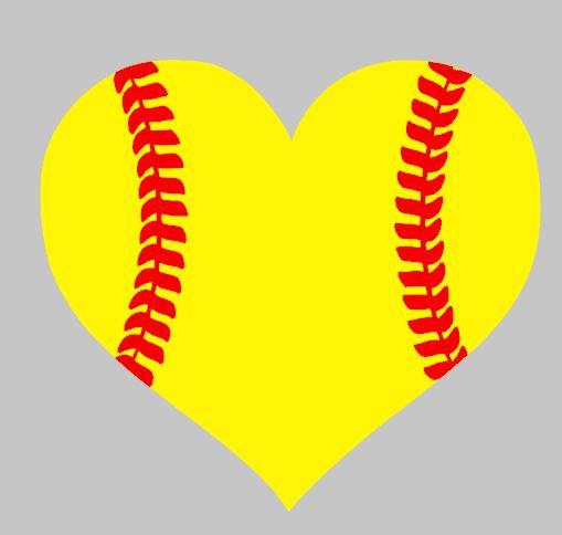 Heart-shaped clipart softball Car vinyl baseball Heart softball