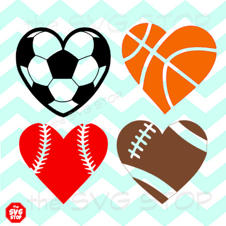 Heart-shaped clipart softball STOP heart balls includes listing