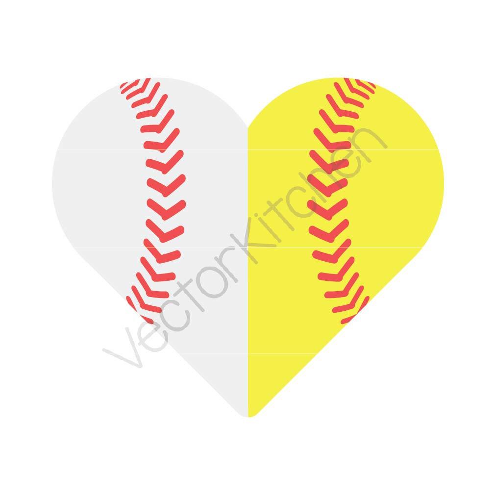 Heart-shaped clipart softball Commercial Etsy SVG Baseball Half