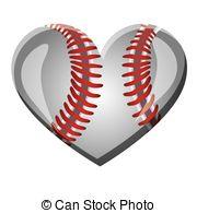 Heart-shaped clipart softball Baseball  Vector with heart