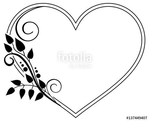 Heart-shaped clipart vector art Floral Heart frame art Vector