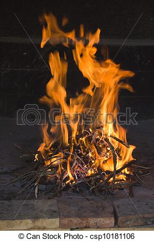 Heat clipart fireside Strong flames in Stock csp10181106