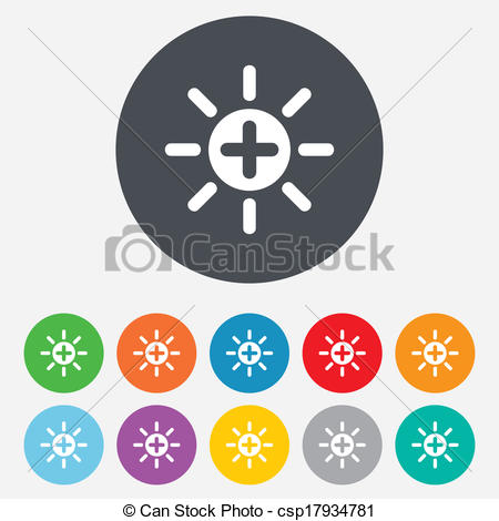 Heat clipart icon Sign plus Brightness icon of