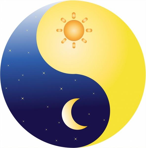Heat clipart sun and moon Yang vector) and moon Free