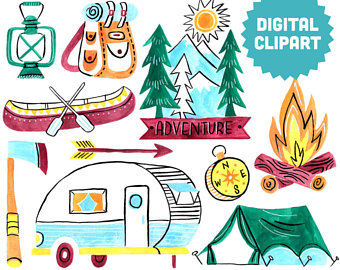 Tent clipart printable Camper clipart Mountain Collage Printable