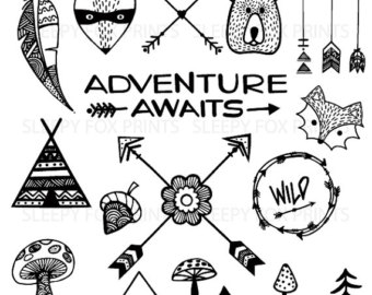 Adventure clipart black and white Feather Bear Arrows Clipart Wild