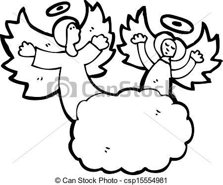 Angel clipart heaven drawing In cartoon of heaven Vector