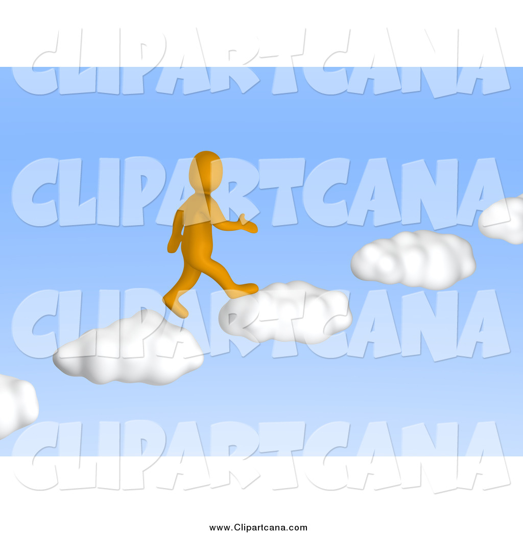 Heaven clipart blue sky Up Man Cloud Walking in
