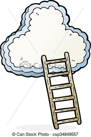 Heaven clipart lader Ladder drawn Vector  cartoon
