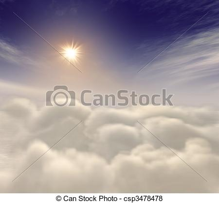 Heaven clipart sun cloud Heavenly Illustration rising Stock