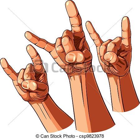 Heavy Metal clipart hand Set  csp9823978 Vector hands