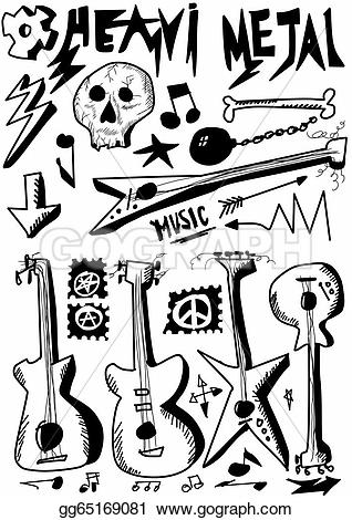 Heavy Metal clipart jazz instrument Illustration Doodle drawn guitars hand